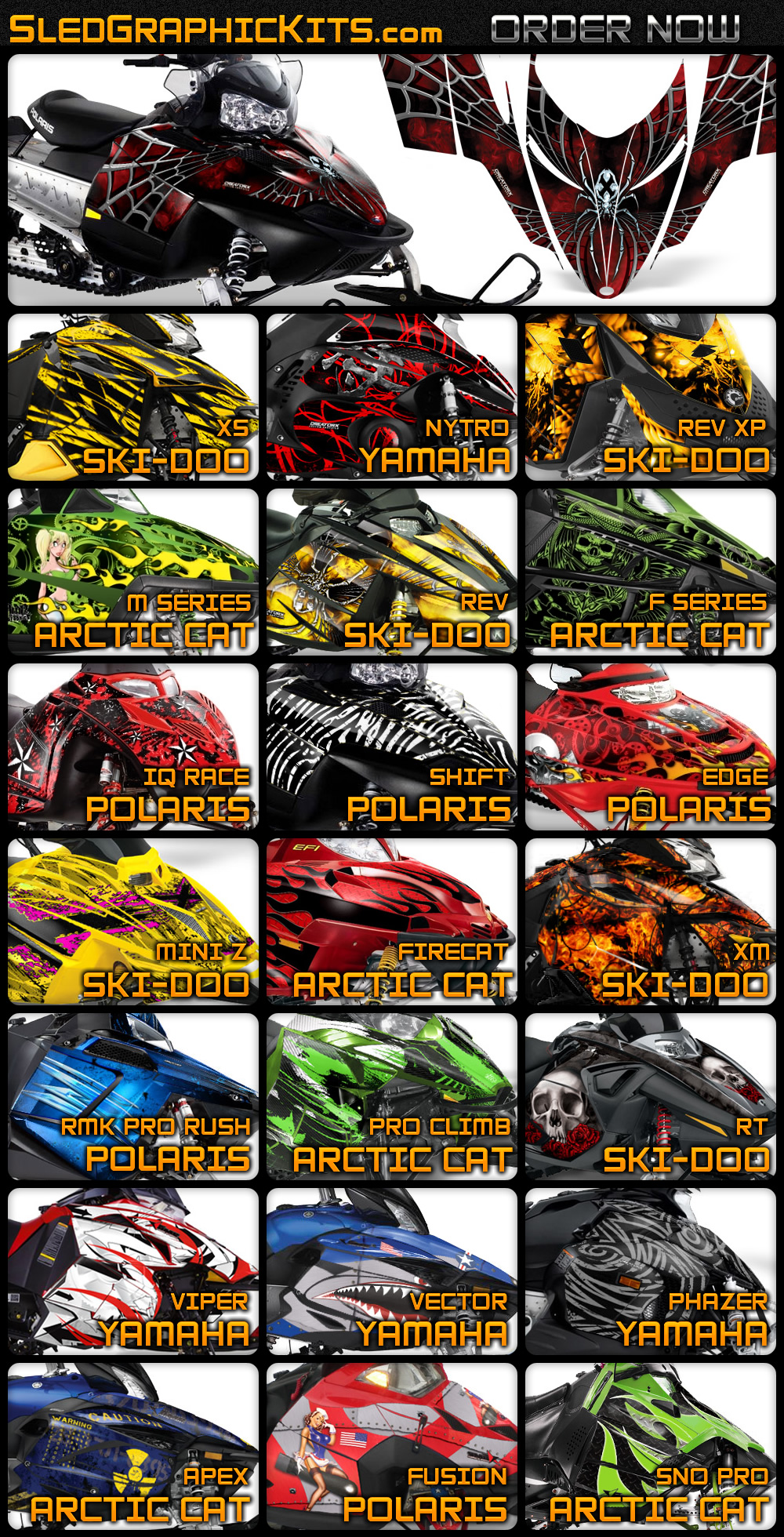 Yamaha Sled Wraps >> Snowmobile Graphic Kits - Sled Graphics - Sled Wraps - Custom Snowmobile Graphics - Ski-Doo ...